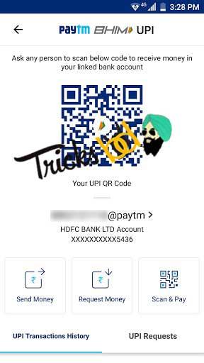 Paytm BHIM UPI QR code